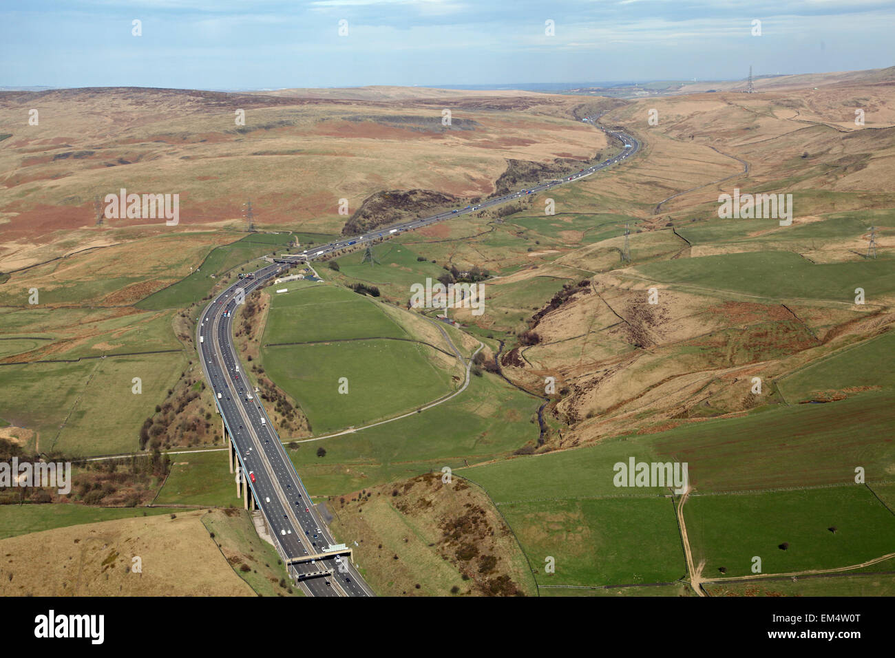 aerial view of the M62 motorway as it cuts through the Pennines from Lancashire, UK - Stock Image