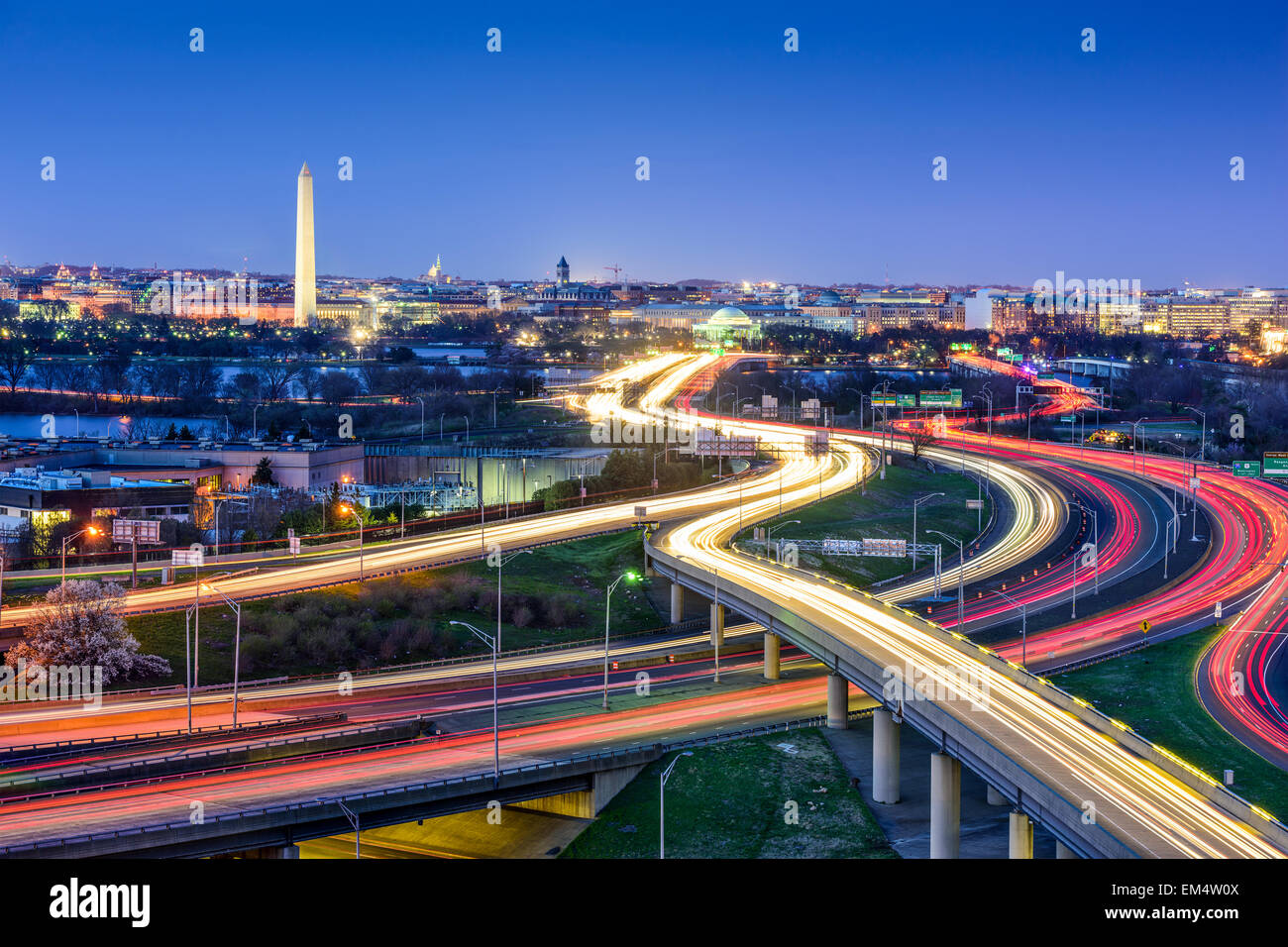 Washington D.C., skyline with highways and monuments. - Stock Image
