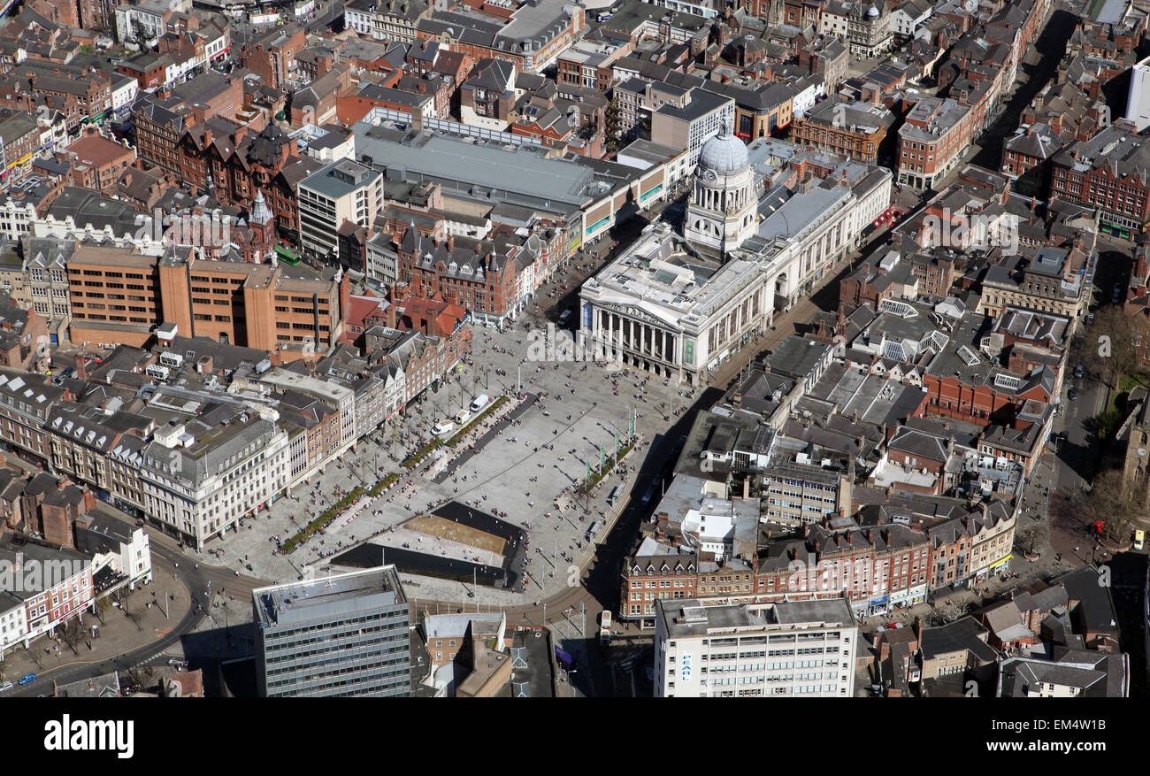 aerial view of the Town Hall & Market Square, Nottingham city centre, UK - Stock Image