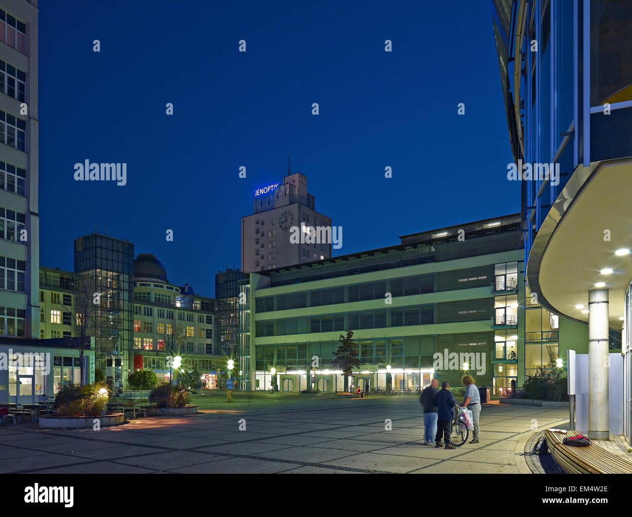 Ernst-Abbe-Platz with Jenoptik building in Jena, Germany - Stock Image