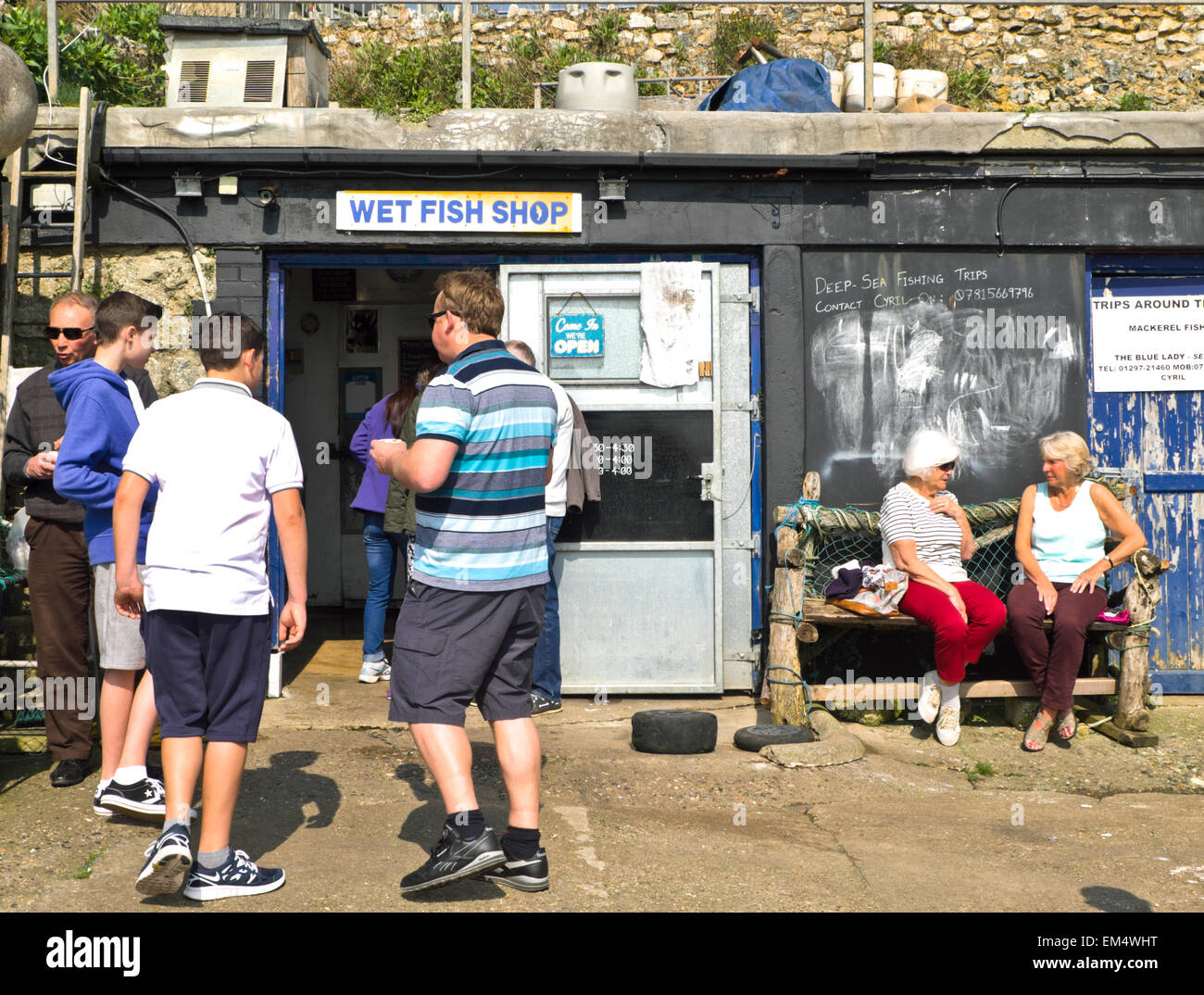 Beer is a small seaside village on the South Devon Coast England UK  The Wet fish shop on the Beach - Stock Image