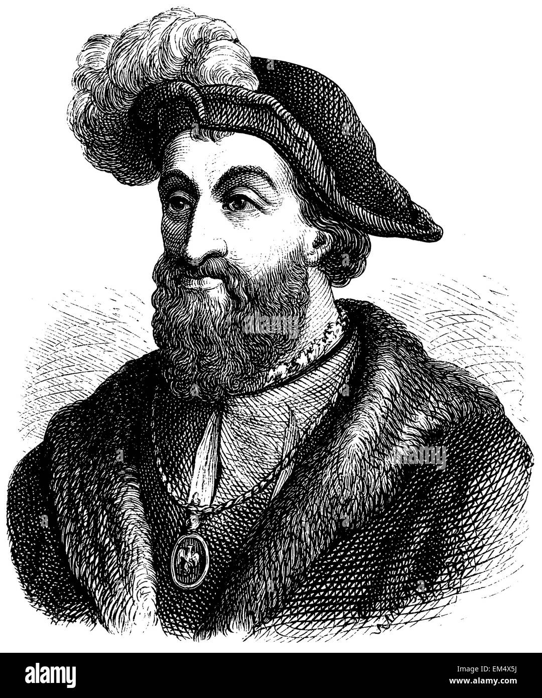 Francis I, King of France (b. September 12, 1494, died March 31, 1547) Stock Photo