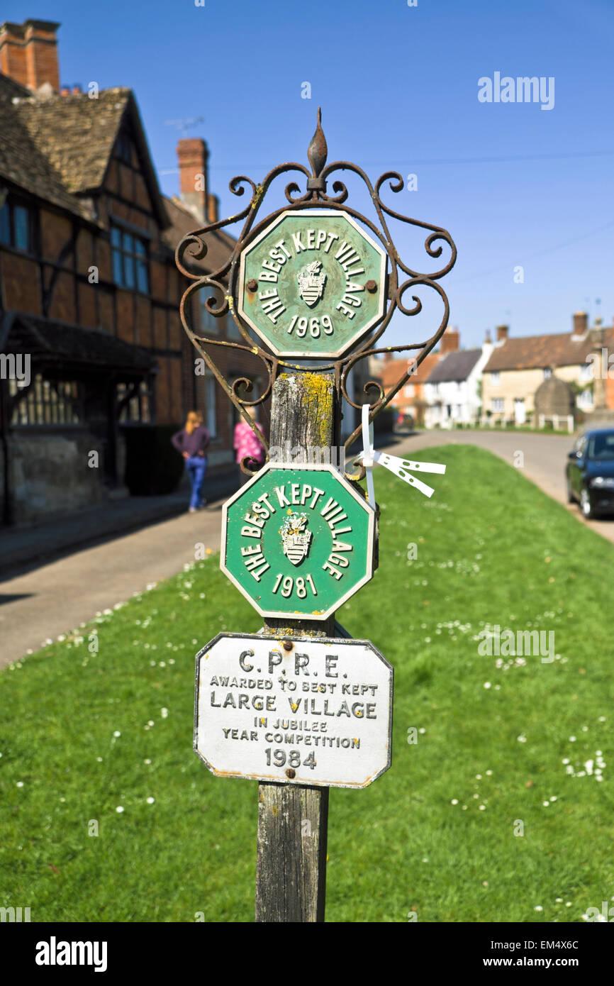 Steeple Ashton Wiltshire England  Best kept village sign CPRE - Stock Image