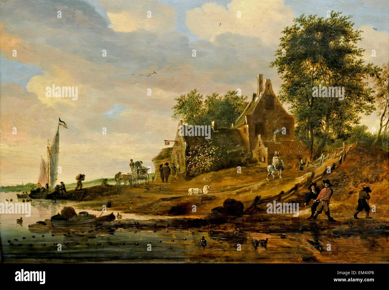Inn on the Banks 1667 Salomon Jacobsz. van Ruysdael 1600-1670 Dutch Netherlands Stock Photo