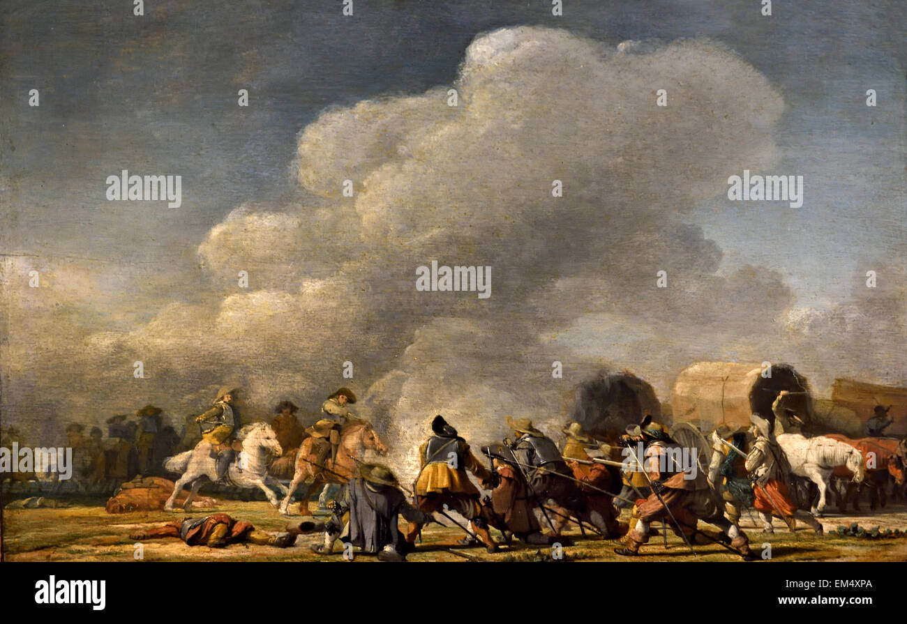Skirmish ( Battle War ) 1631 Pieter Jansz Post (1608 – 1669)  Dutch Golden Age architect, painter and printmaker - Stock Image