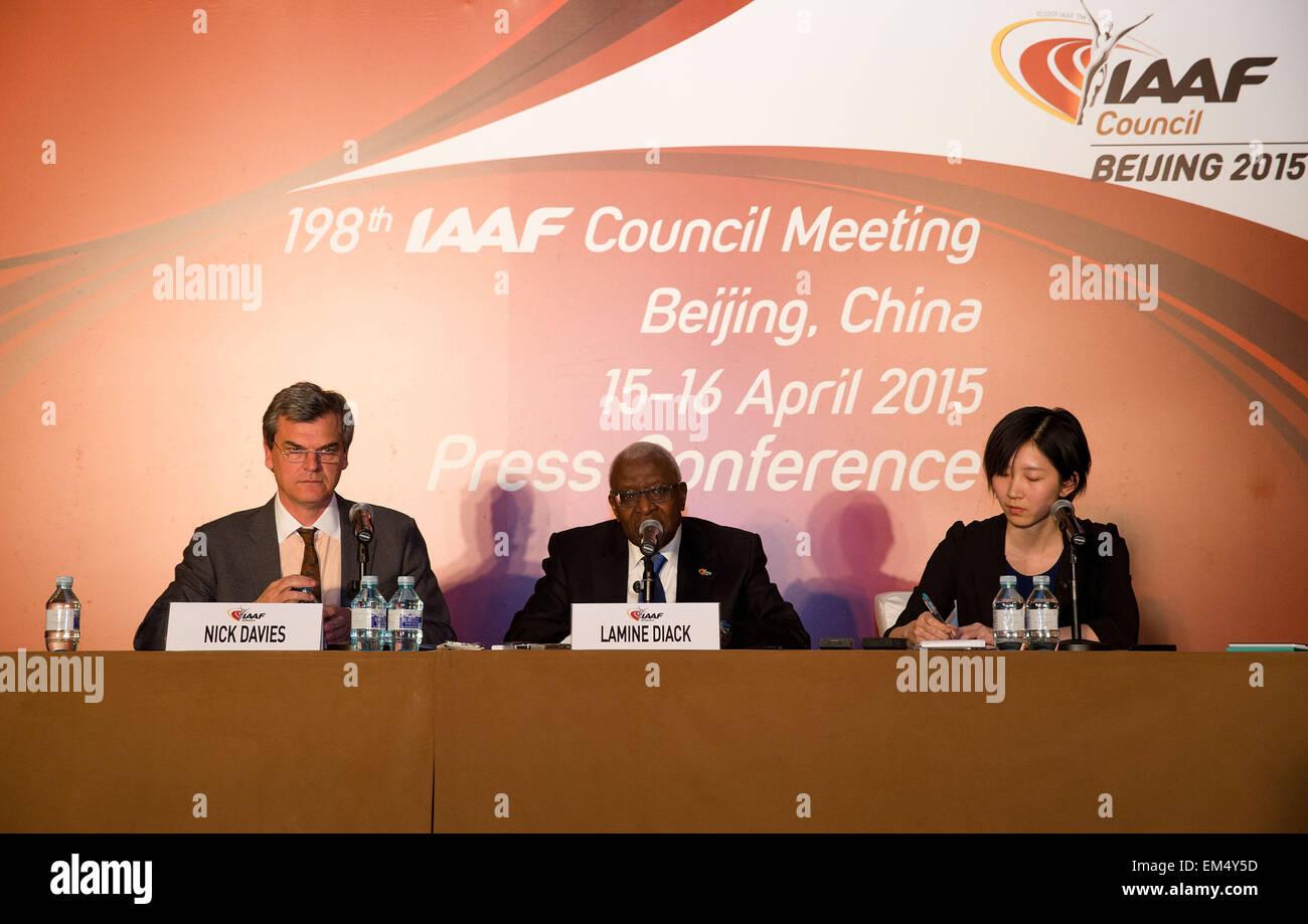 (150416) -- BEIJING, April 16, 2015 (Xinhua) -- International Association of Athletics Federations (IAAF) President - Stock Image