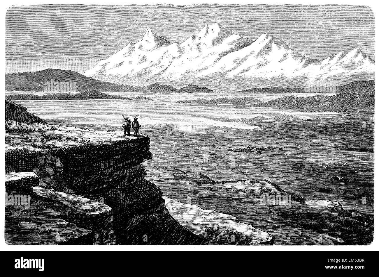 Illampu and Lake Titicaca (Peru) - Stock Image
