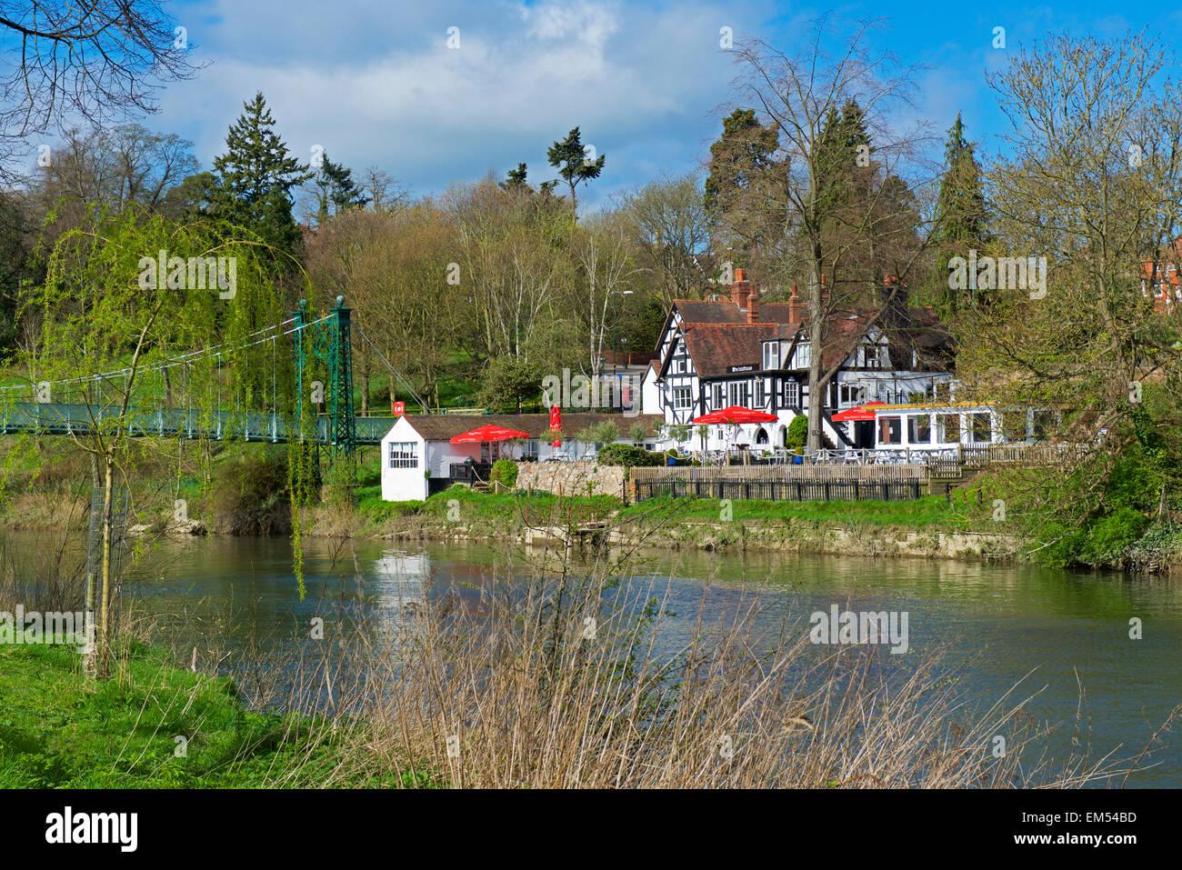The Boathouse Pub, overlooking the River Severn, Shrewsbury, Shropshire, England UK - Stock Image