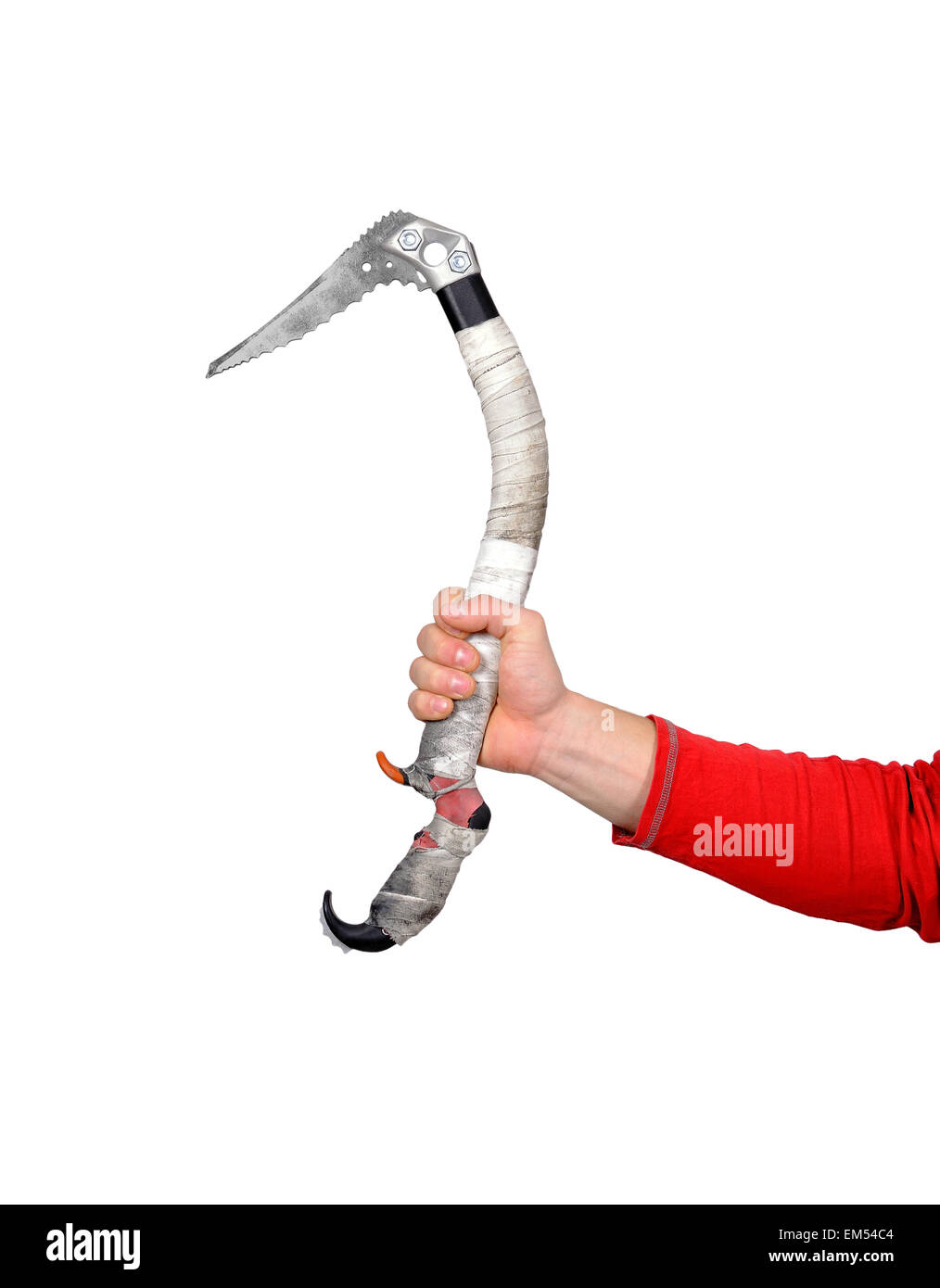 old ice ax in hand on white background - Stock Image