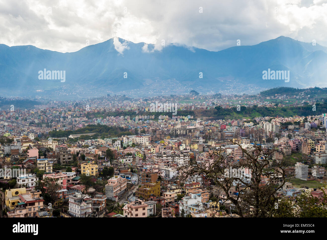 View of Kathmandu Valley with mountains in the background - Stock Image
