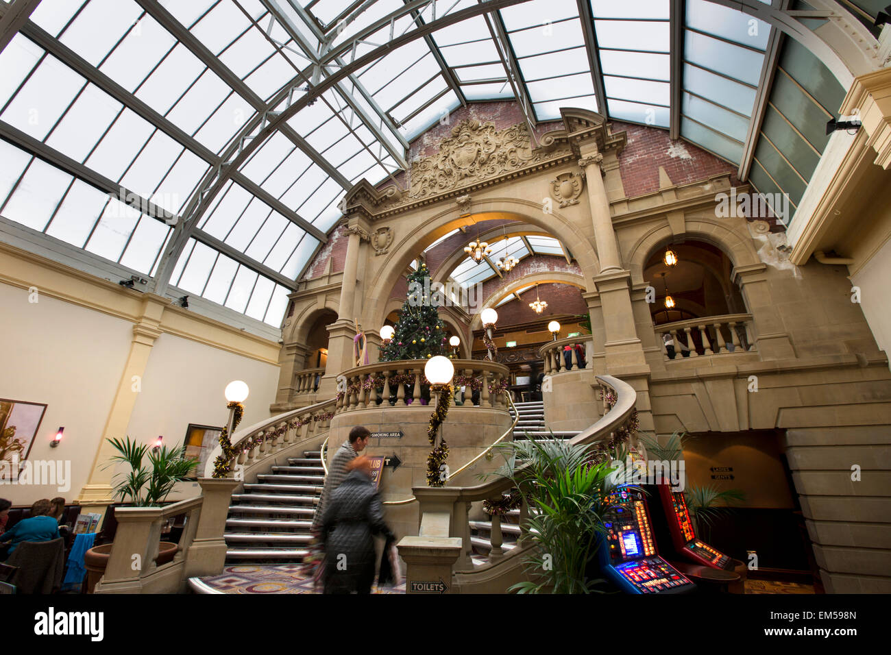 UK, England, Yorkshire, Harrogate, Wetherspoons original Winter Gardens staircase and glazed roof - Stock Image