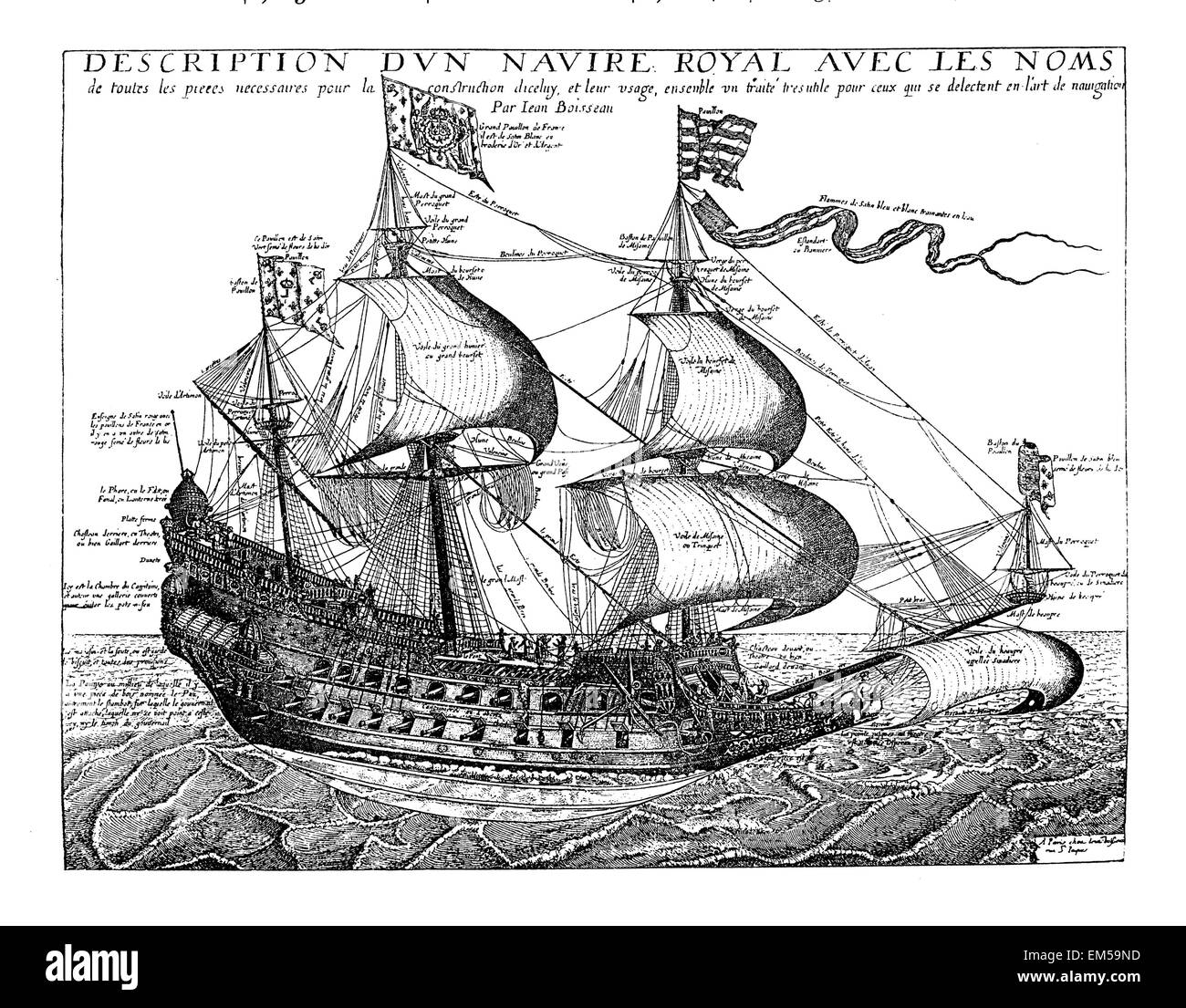 French warship in the mid-17th century. After a contemporary engraving by Jean Boiffeau - Stock Image