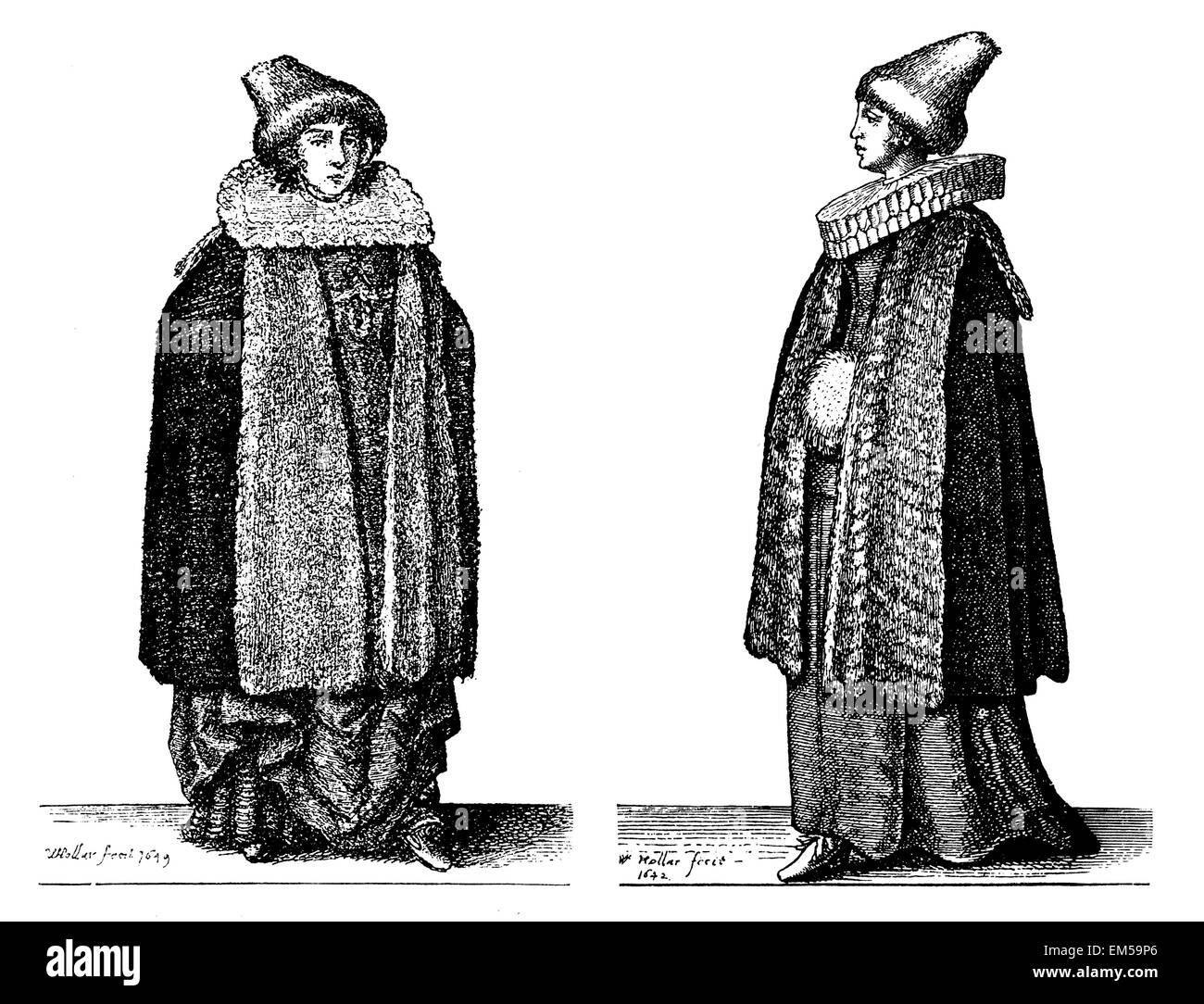 noblewoman and merchant's wife from Prague in the mid-17th century. Etchings by Wenzel Hollar Stock Photo