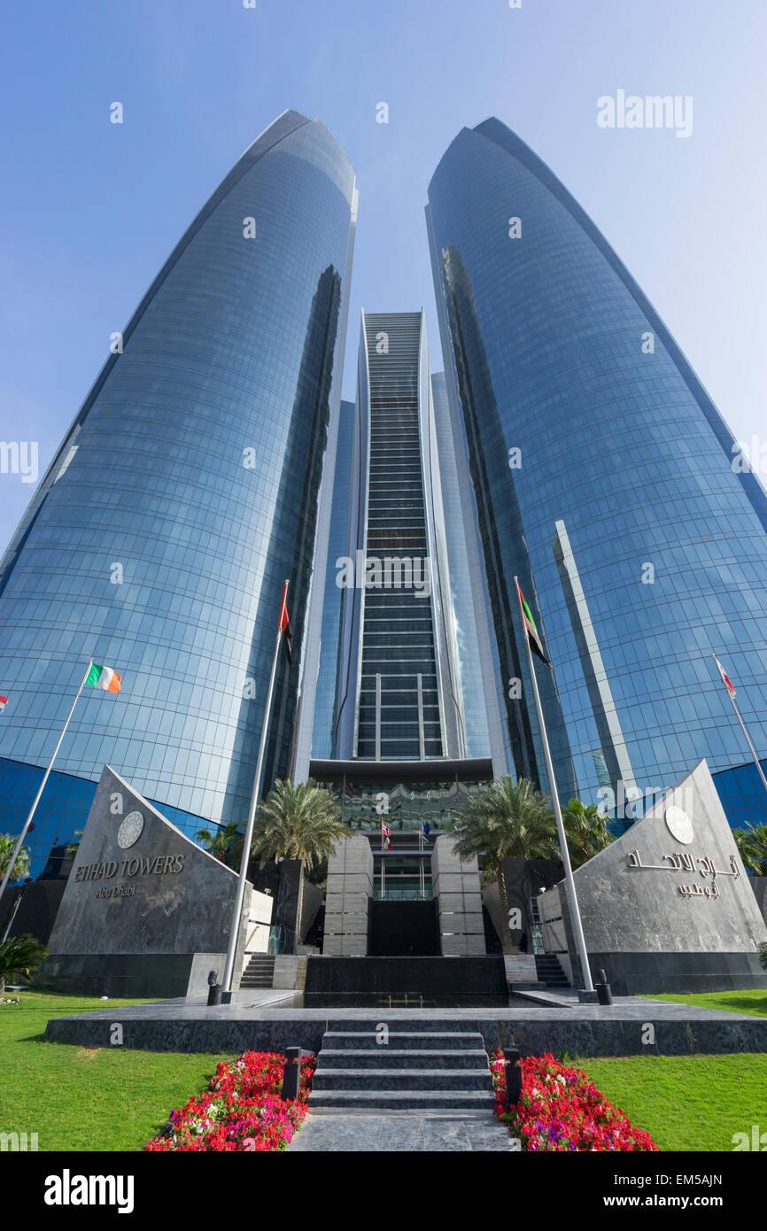 Etihad Towers in Abu Dhabi United Arab Emirates - Stock Image