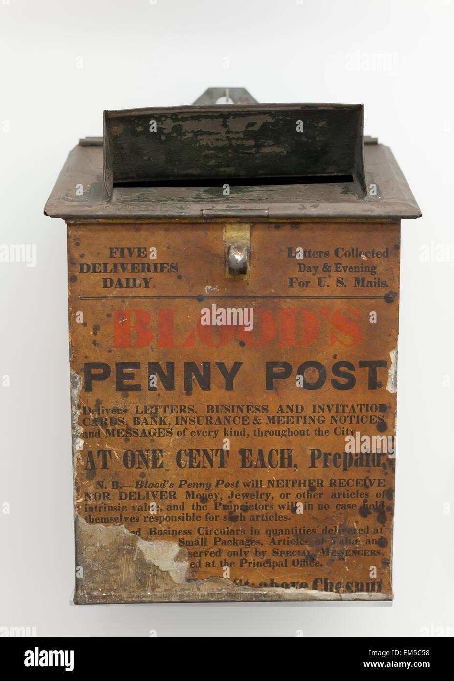 Blood's Penny Post mailbox, circa 1800s - USA - Stock Image