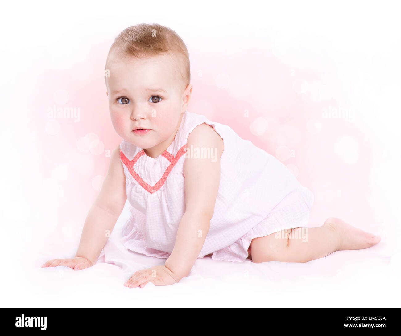 cute baby small girl wearing stock photos & cute baby small girl
