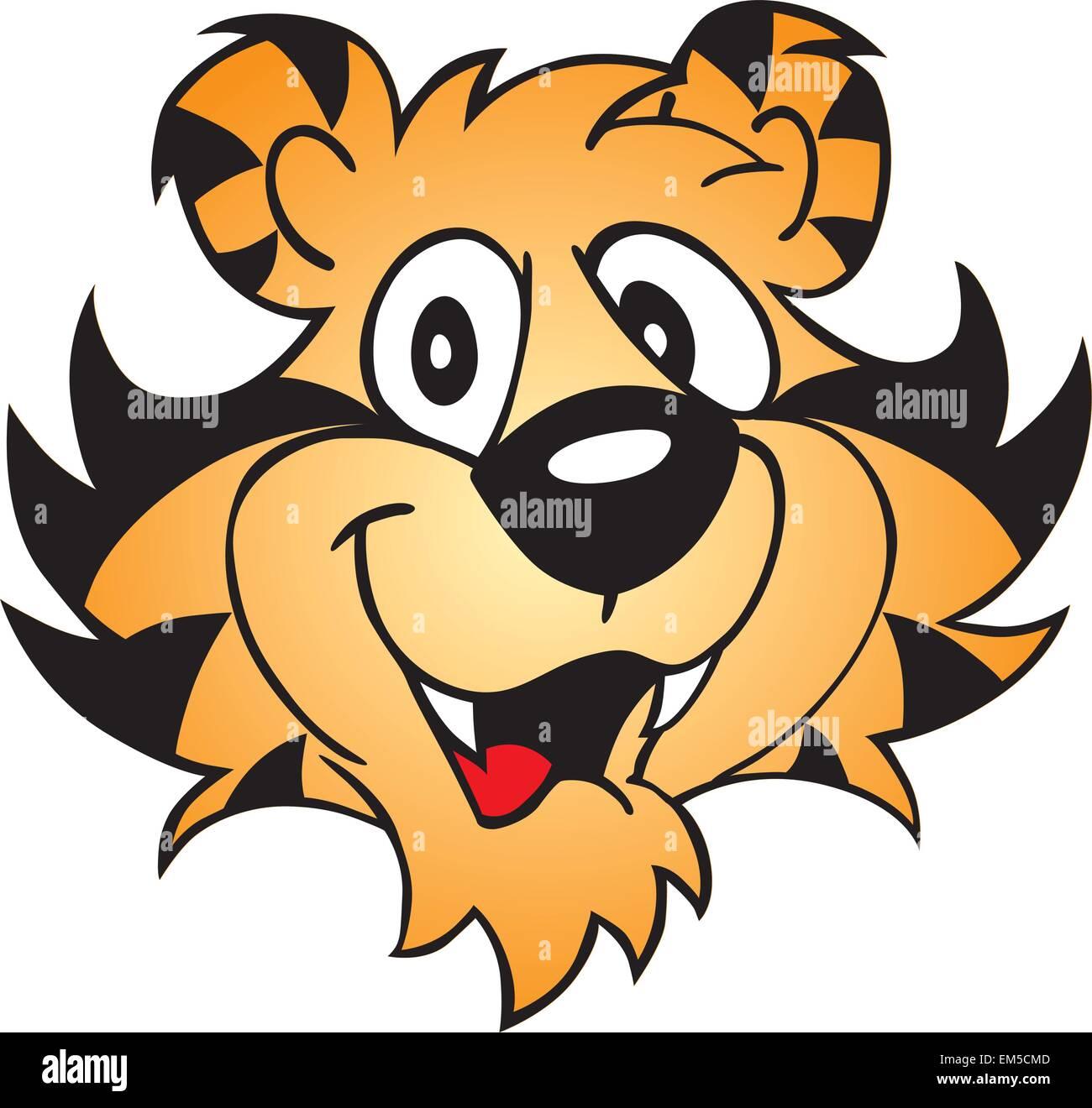 cartoon tiger face stock vector art illustration vector image rh alamy com cartoon tiger face easy cartoon tiger face images