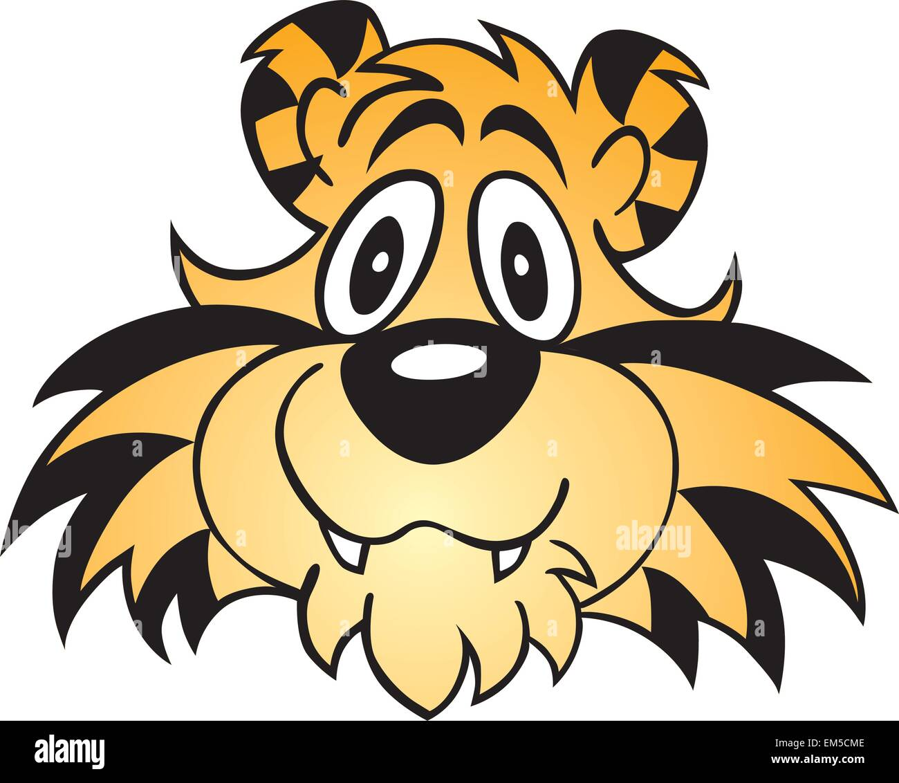 illustrated cartoon tiger face isolated on white stock vector art rh alamy com cartoon tiger face images cartoon tiger face pictures