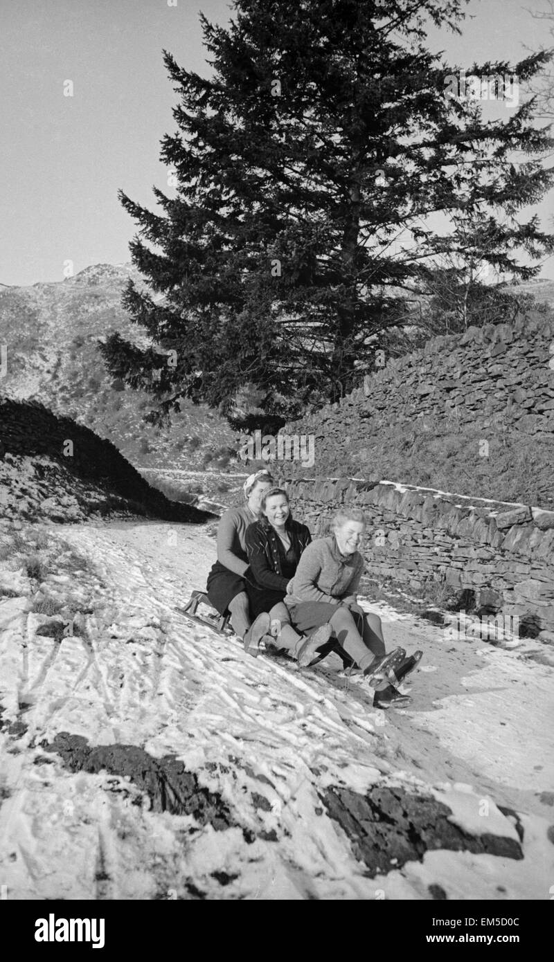 A snow scene in the hills of the Lake District, Cumbria January 1946 - Stock Image
