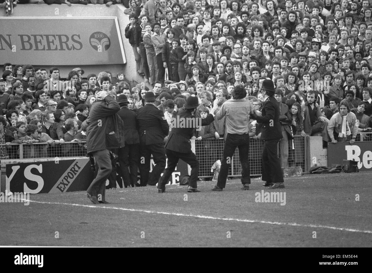 March 1978, a full-scale riot breaks out at The Den during an FA Cup quarter-final between Millwall and Ipswich. Stock Photo