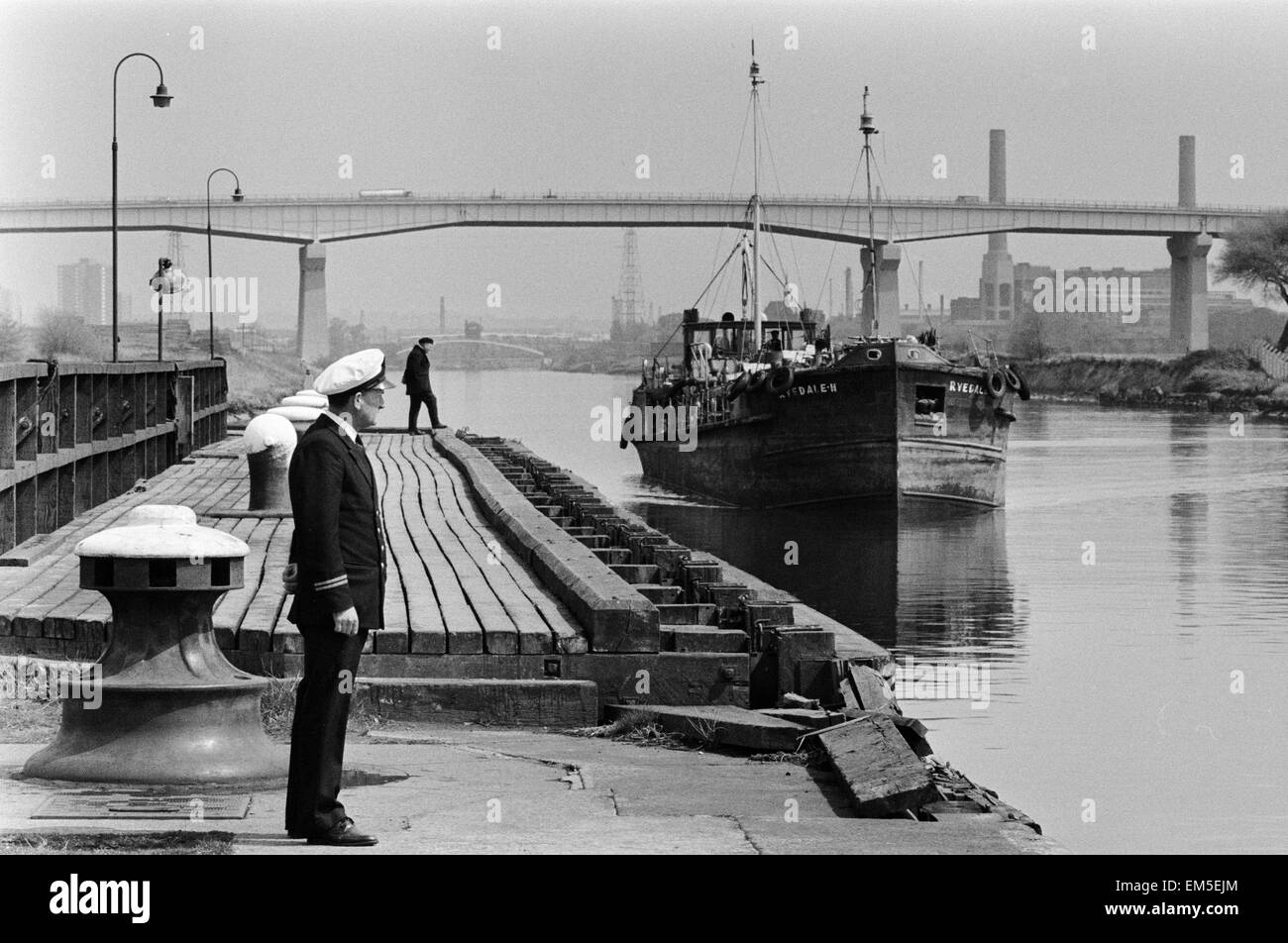 Trawler in the docks at Manchester ship canal seen through the mist June 1967 - Stock Image