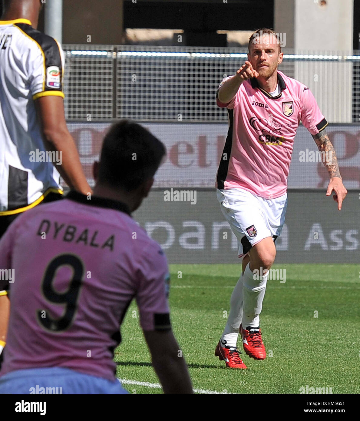Palermo's midfielder  Luca Rigoni celebrates after scoring the 0-2 goal during the Italian Serie A - Stock Image
