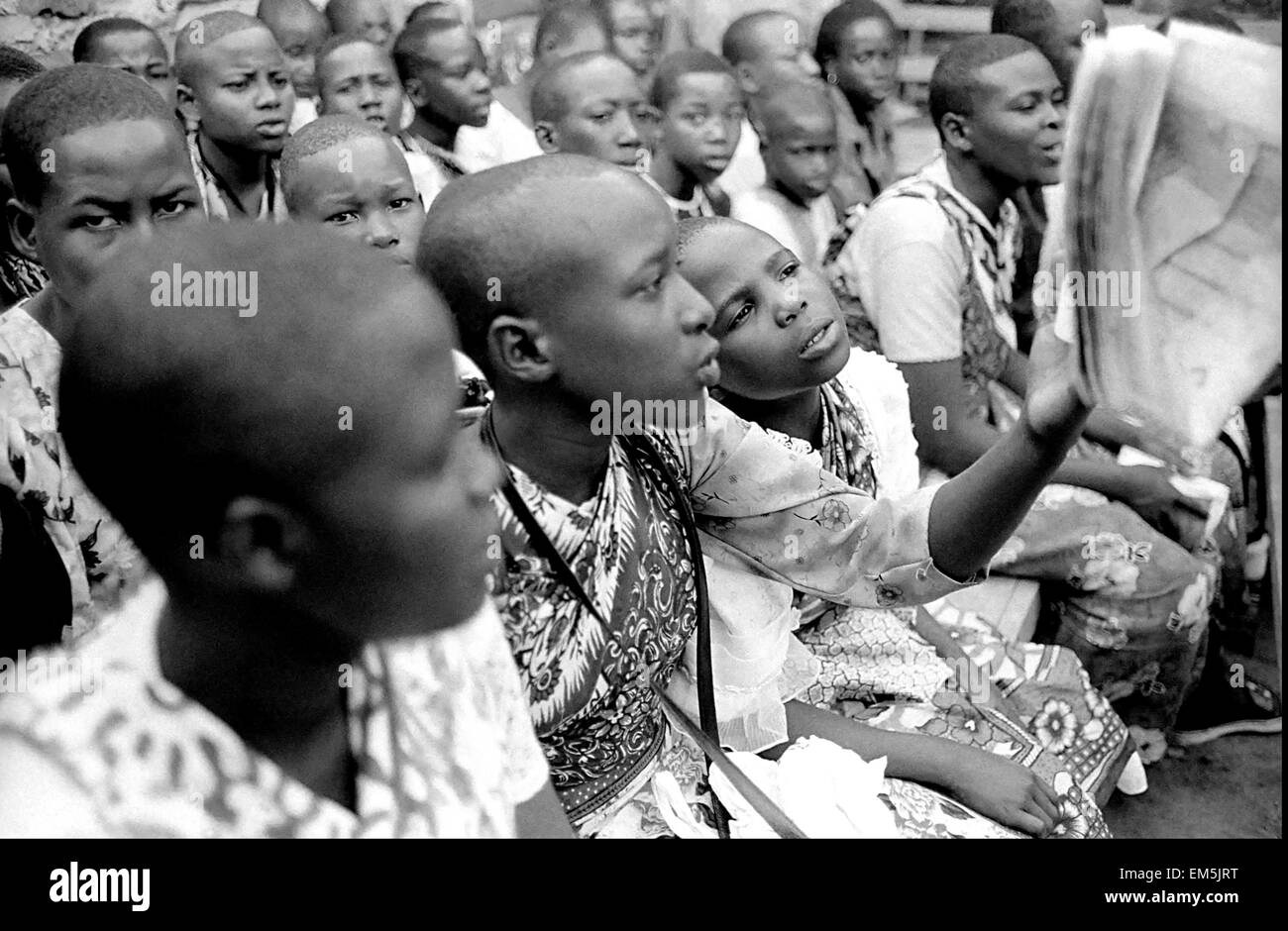 """Young people read christians speeches in a Harambee. Harambee is Swahili for """"all pull together"""". We would like - Stock Image"""