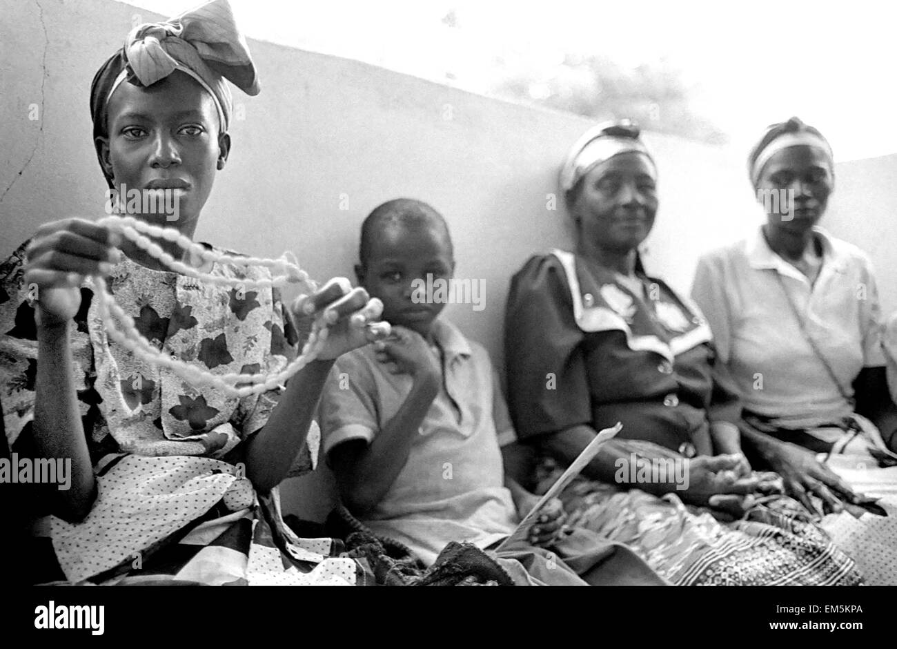 Mutomo hospital. Kitui. Kenya. Women with AIDS are associated and made necklaces and other souvenirs to raise funds. - Stock Image