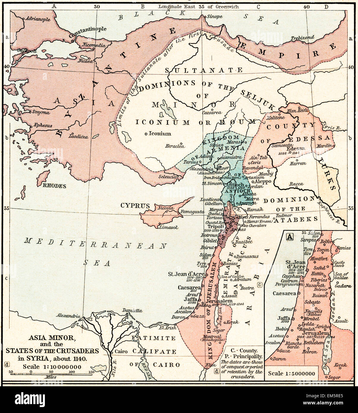 Map of Asia Minor and the Crusader states in Syria, c. 1140. - Stock Image