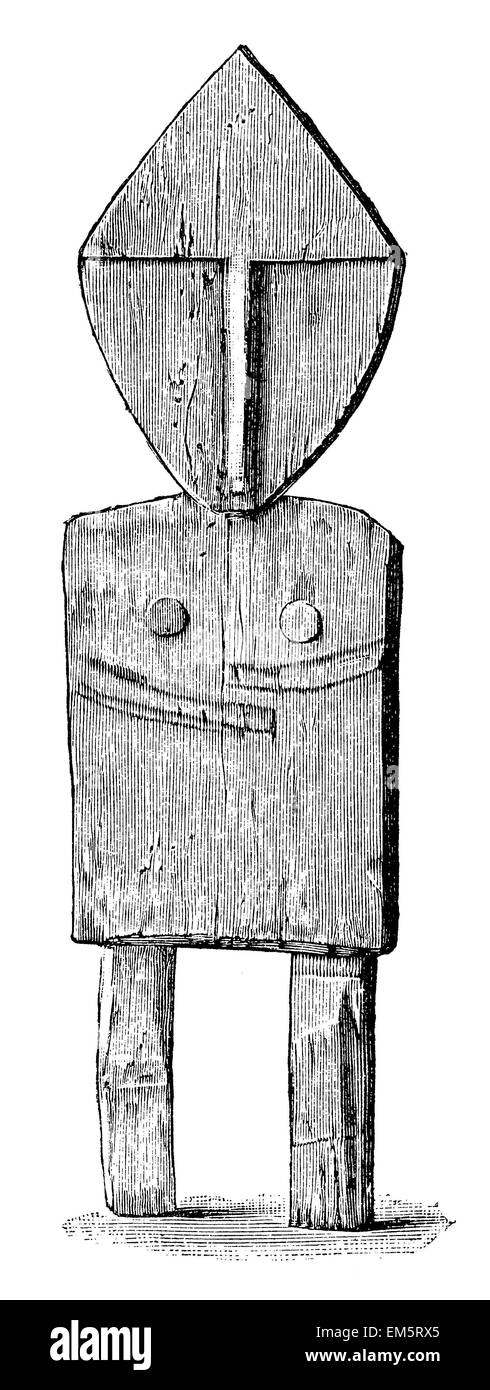 wood figure of Golden (Siberia), representing the shaman candidate Stock Photo