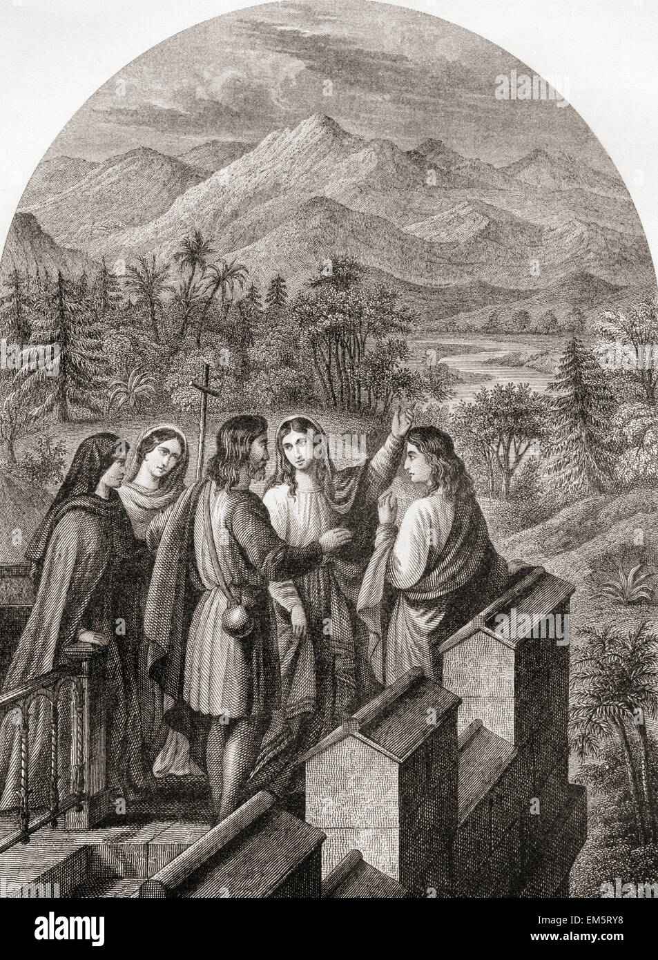 The Delectable Mountains from the housetop.  From The Pilgrim's Progress by John Bunyan. - Stock Image