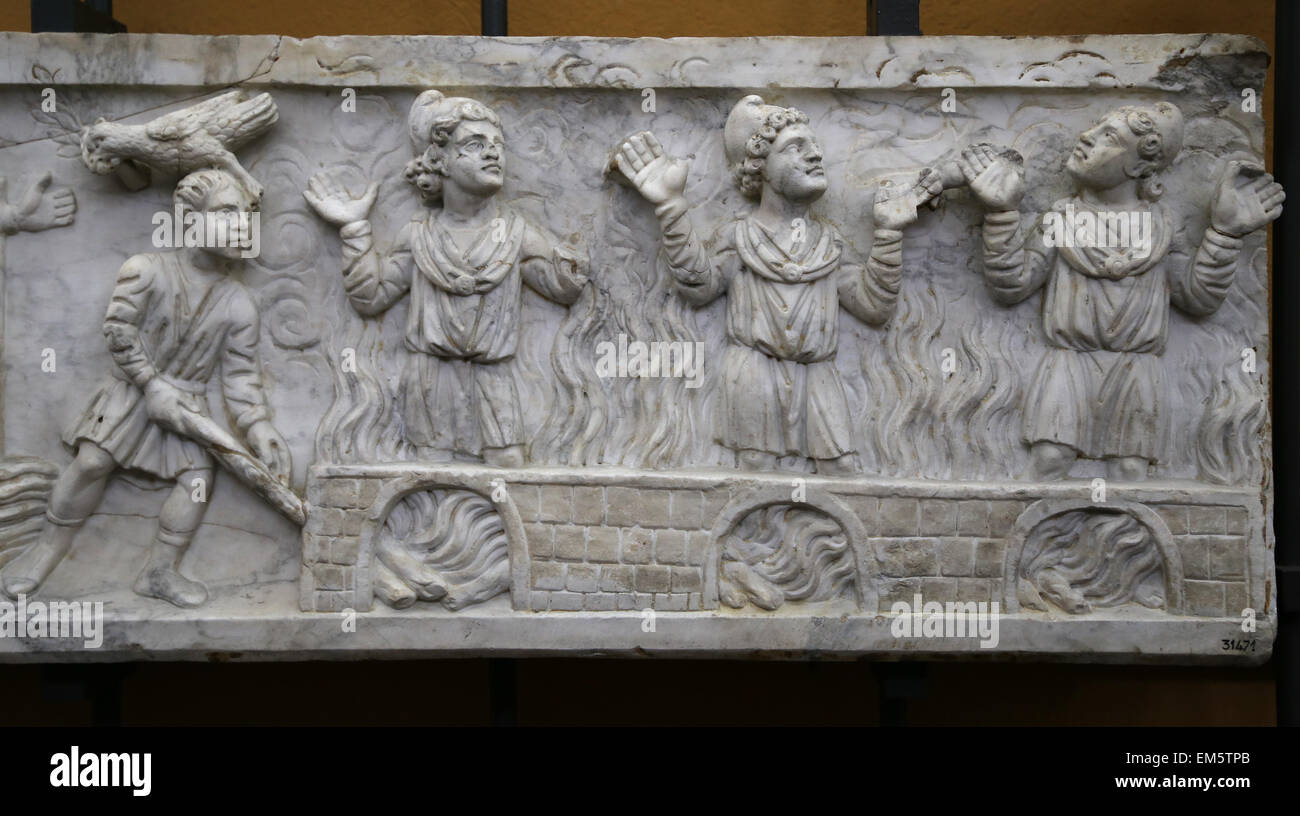 Christian-Roman. Fronts of sarcophagus lids. 4th c. AD. Noah's dove, man feeding wood to fire and 3 youths. - Stock Image