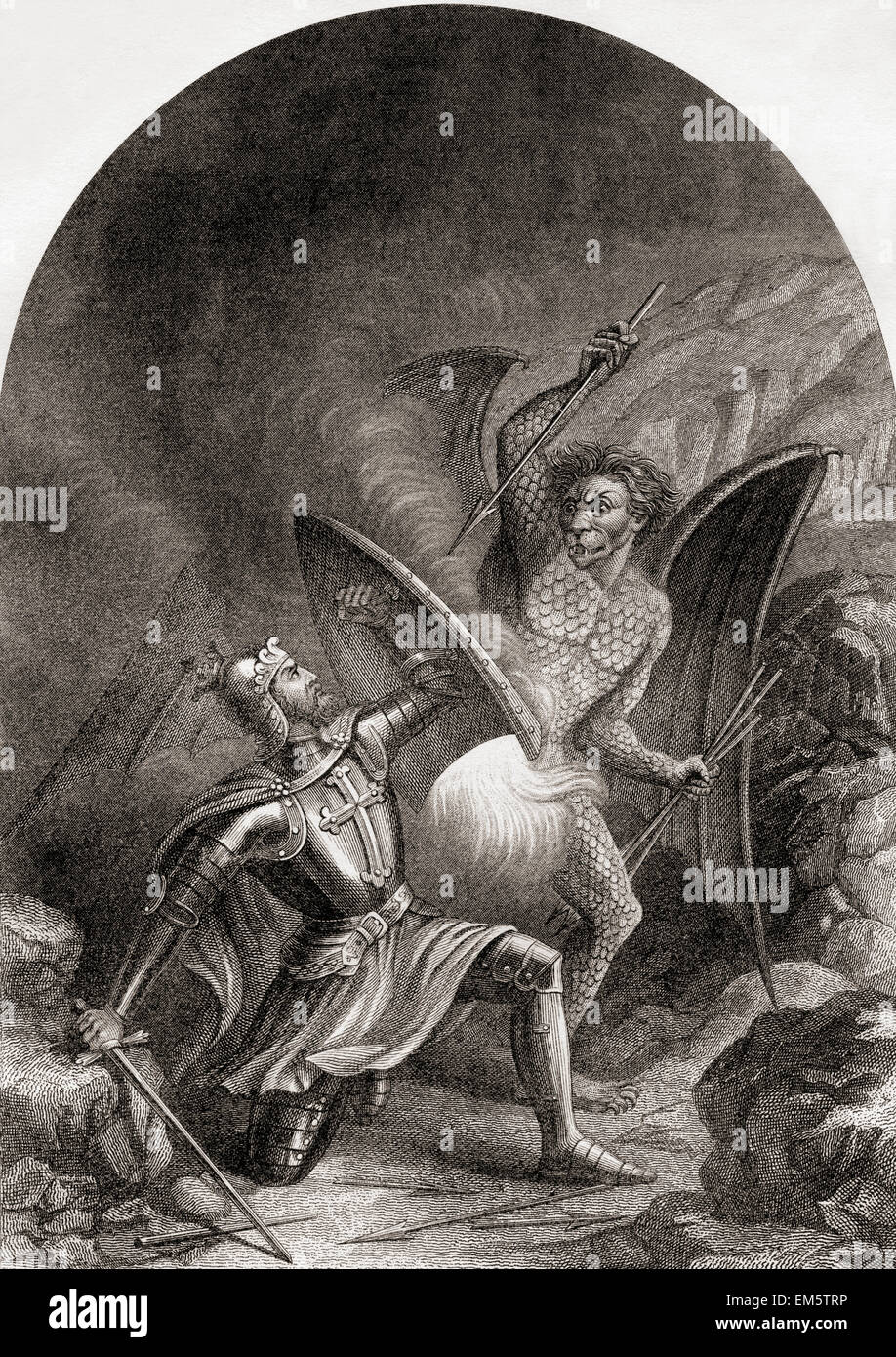 Christian's fight with Appolyon.  From The Pilgrim's Progress by John Bunyan. - Stock Image