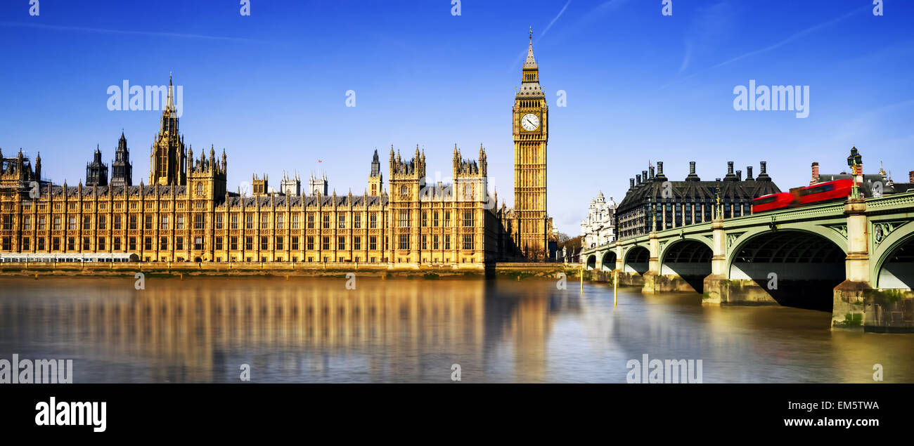 Big Ben and Houses of Parliament, London, UK - Stock Image