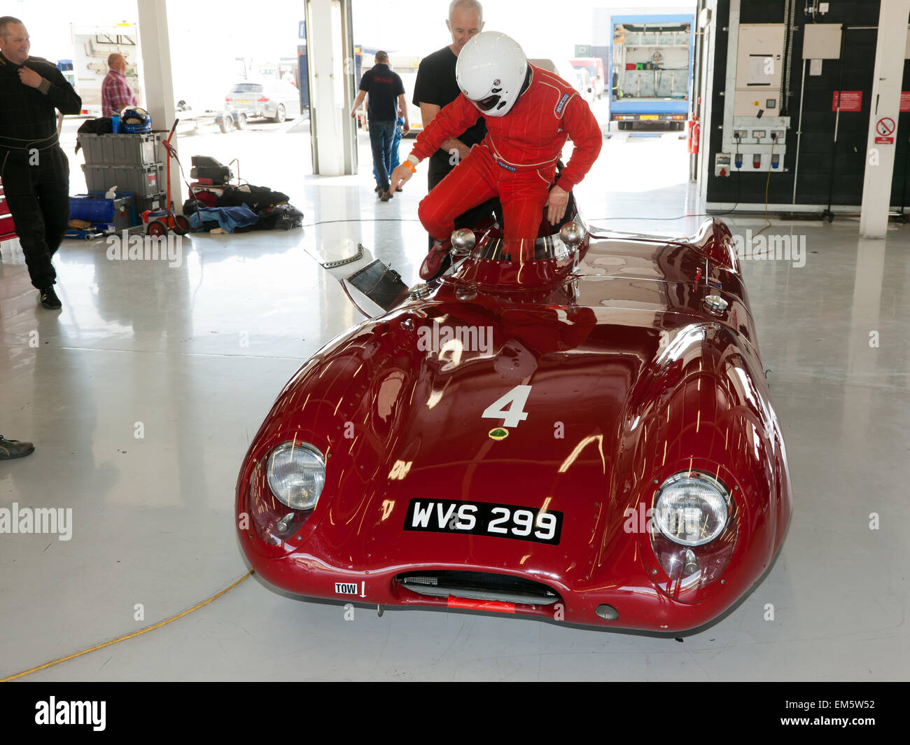 Martin Stretton's  1956 Lotus XI 'Le Mans' in the garage at Silverstone, during the official media preview - Stock Image