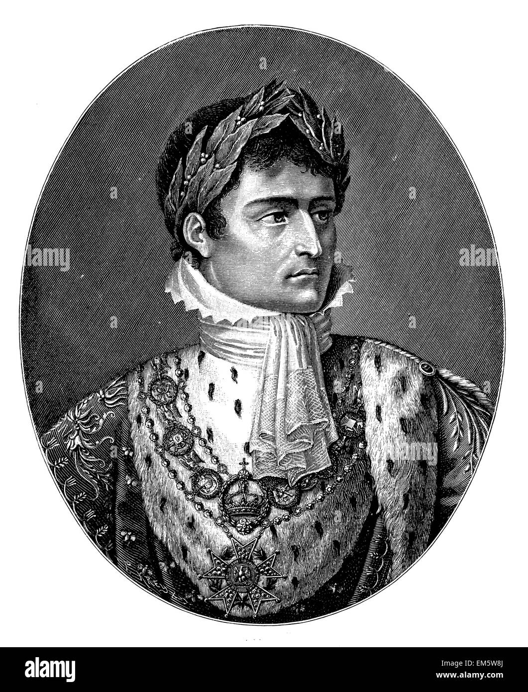 Napoleon I. with laurel wreath After the painting by Charles de Chatillon, engraved by P. Andonin - Stock Image