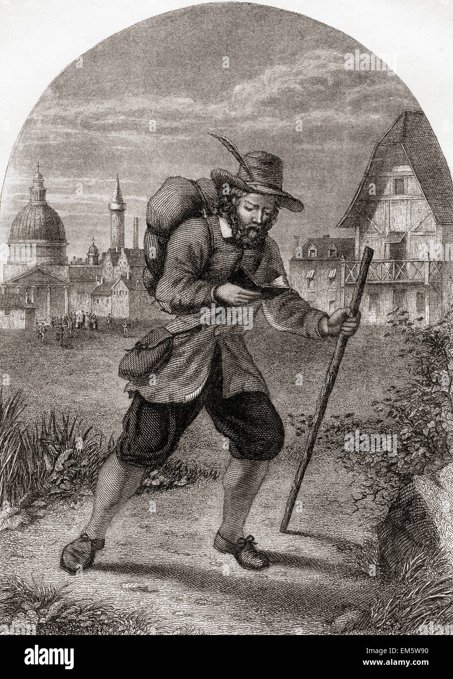 Christian Leaving the City of Destruction.  From The Pilgrim's Progress by John Bunyan. - Stock Image