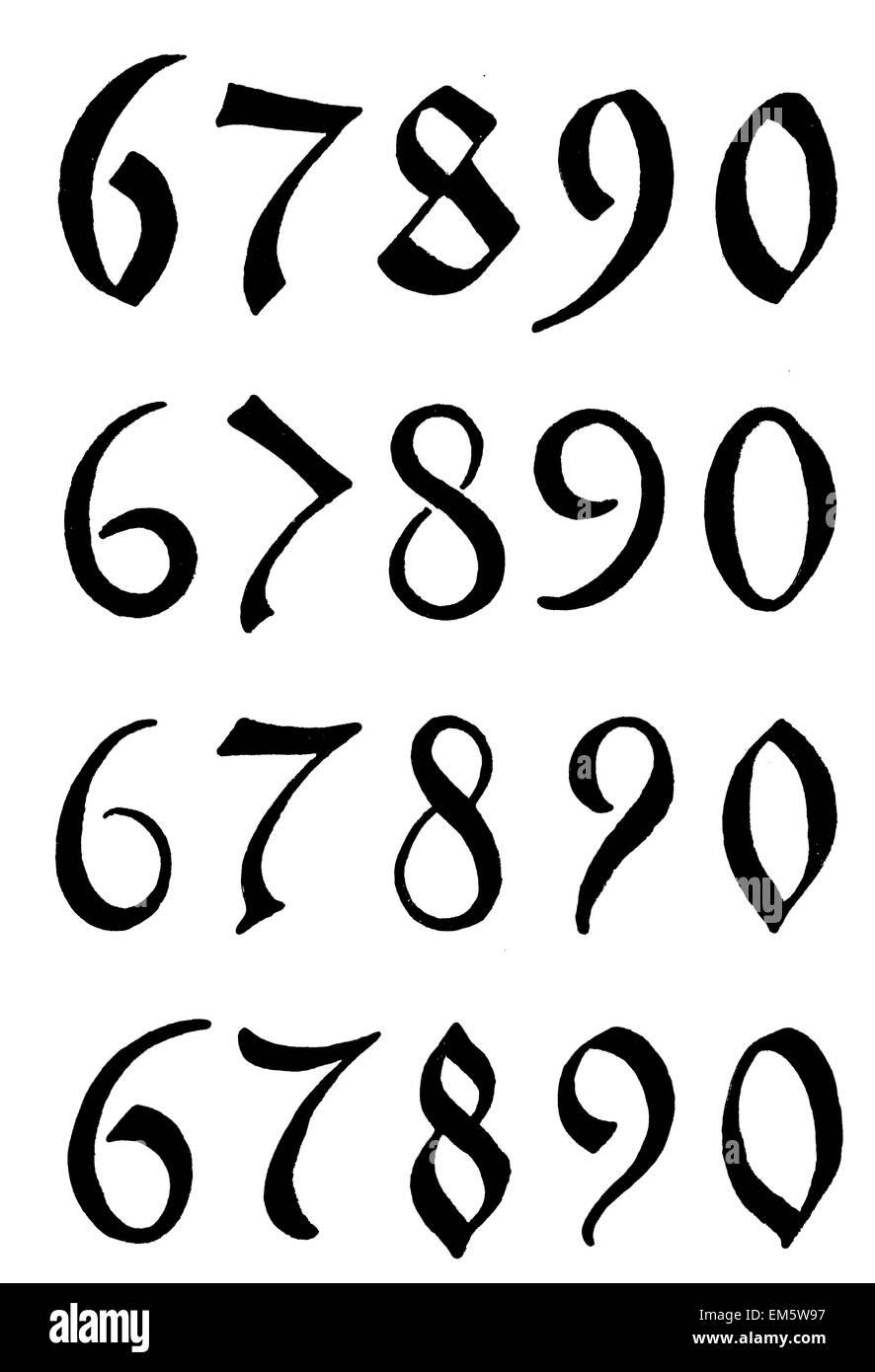 Digits , numbers, German , beaten metal , 1520-1598 - Stock Image