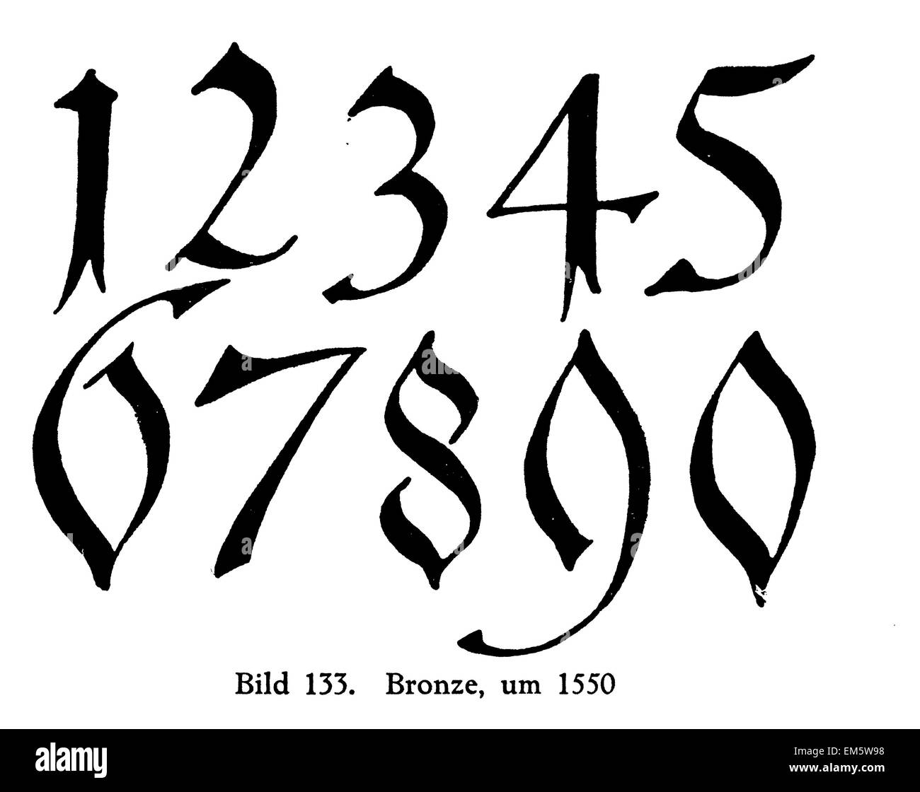 Digits , numbers on Bronze , 1550 - Stock Image
