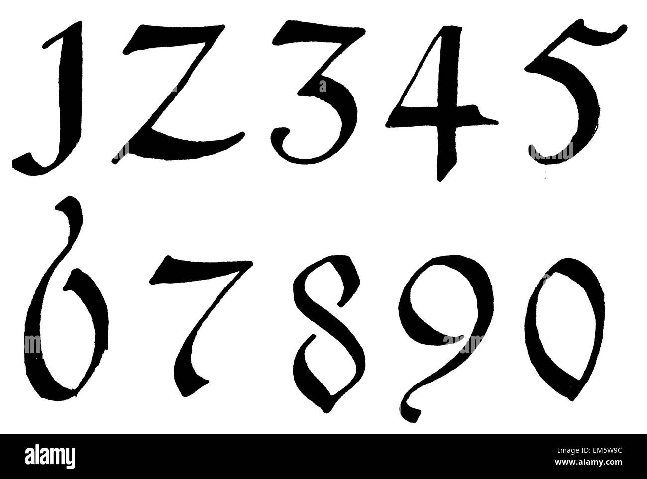 Digits , numbers , gold painted on black , 16th Century Stock Photo