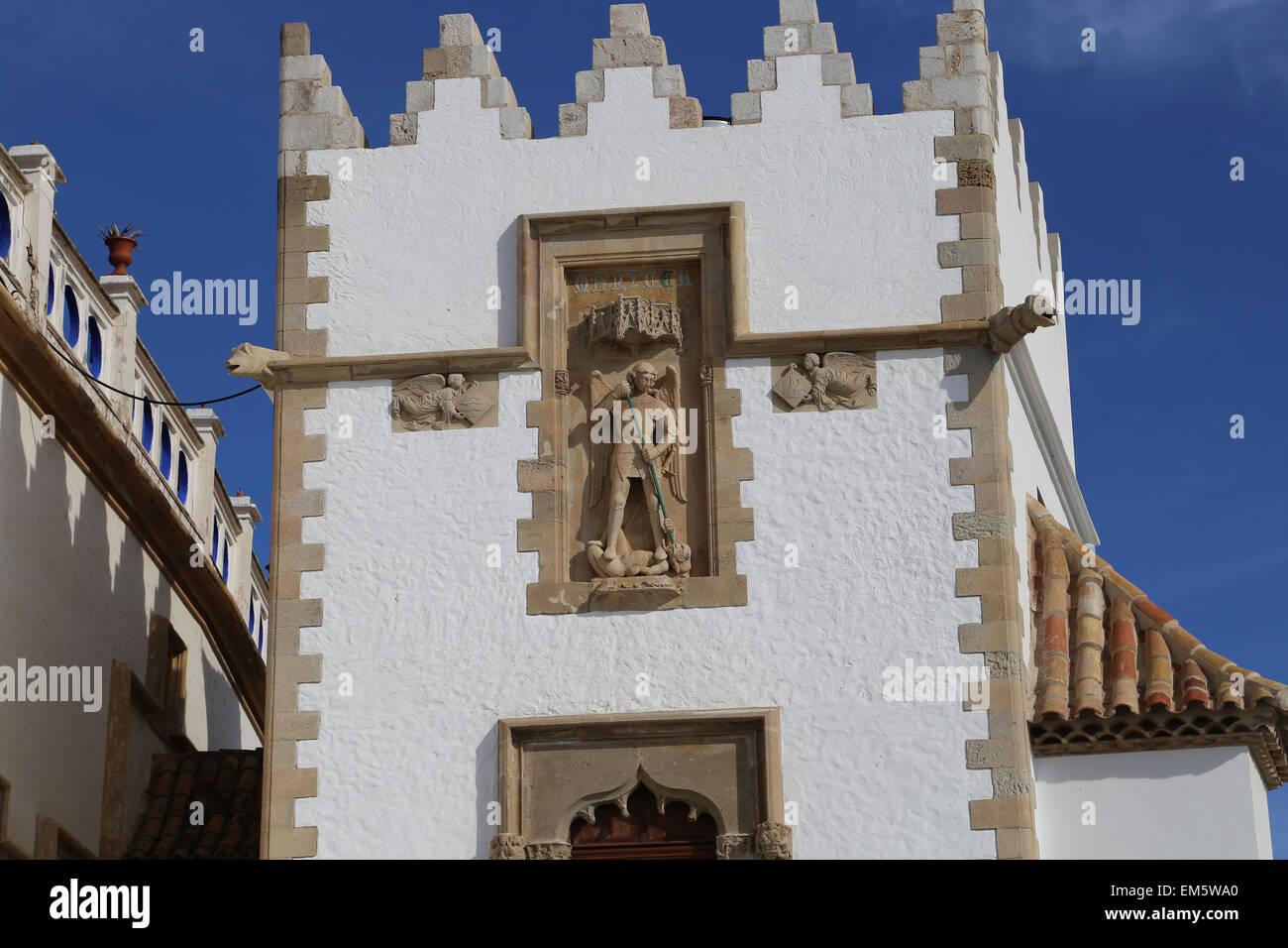 Spain. Catalonia. Sitges. Maricel Museum. Exterior. Noucentisme style. 1913-1916. Michael archangel relief. - Stock Image