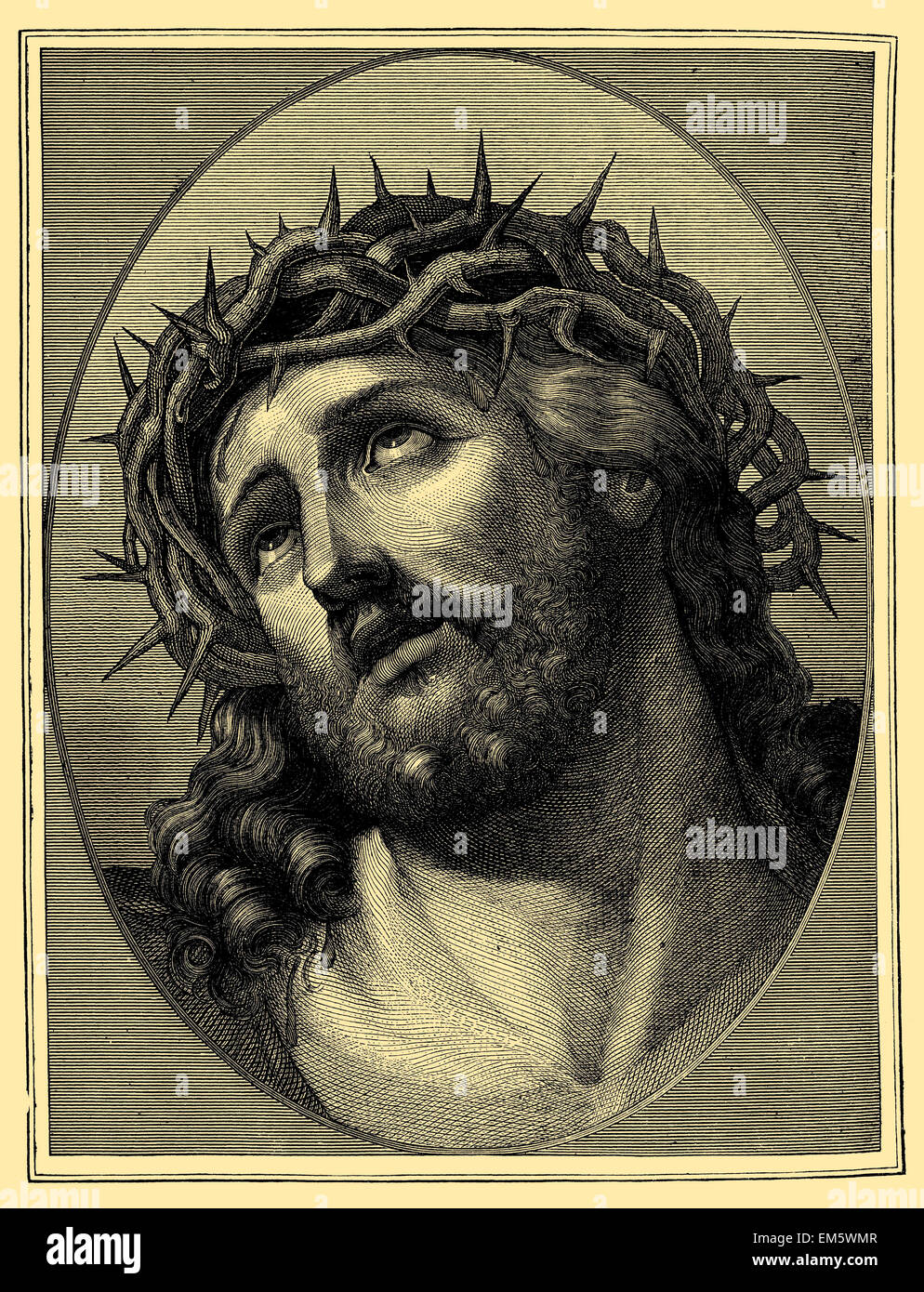 Ecce Homo, Jesus Christ as martyr with Crown of Thorns - Stock Image