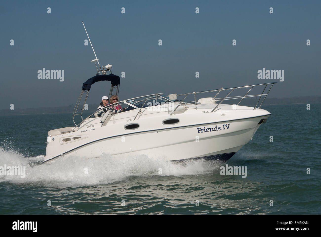 Sealine S23 powerboat at speed in the Solent - Stock Image