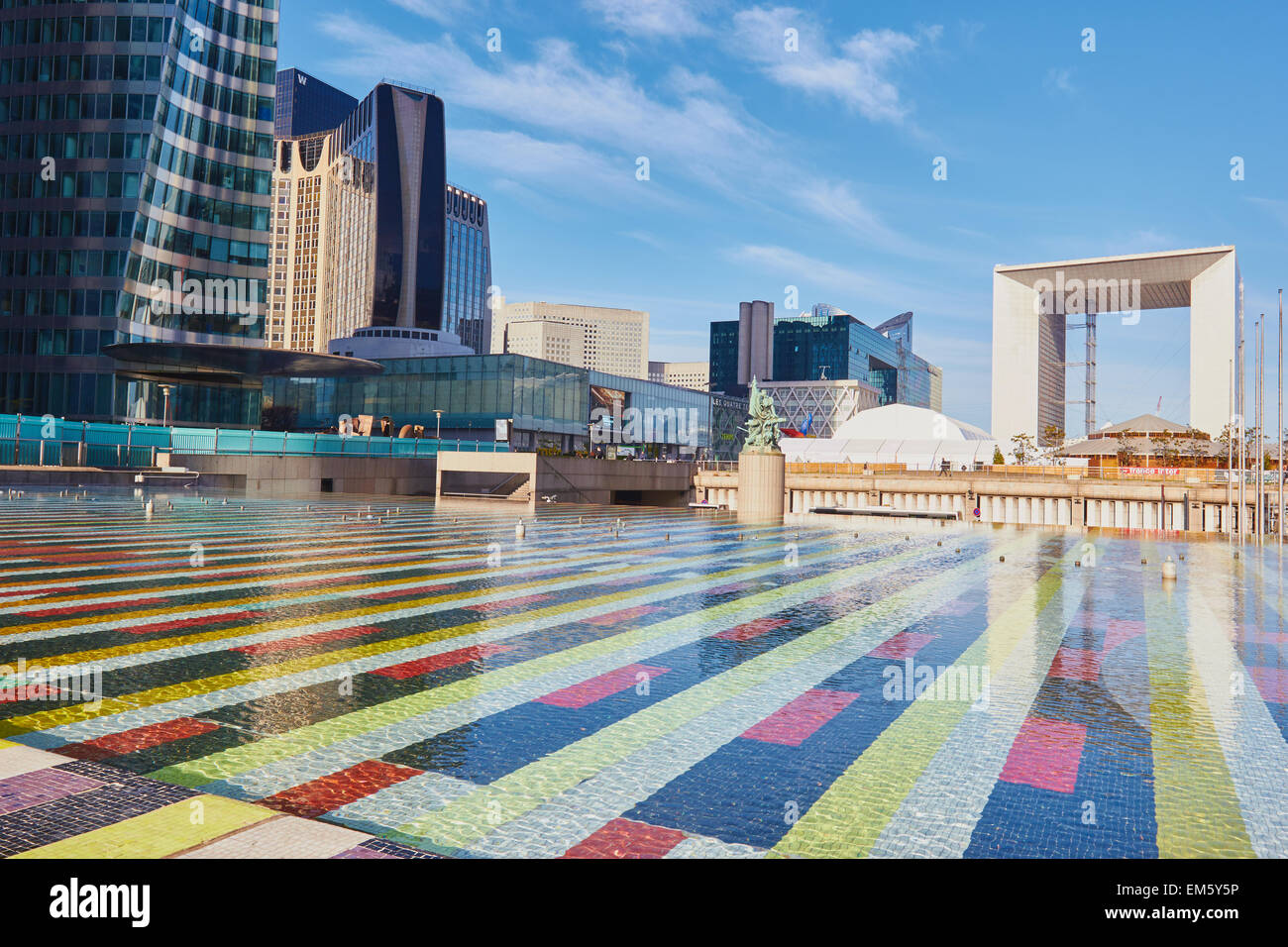 La Defense business district with the Grande Arche at its centre Paris France Europe - Stock Image