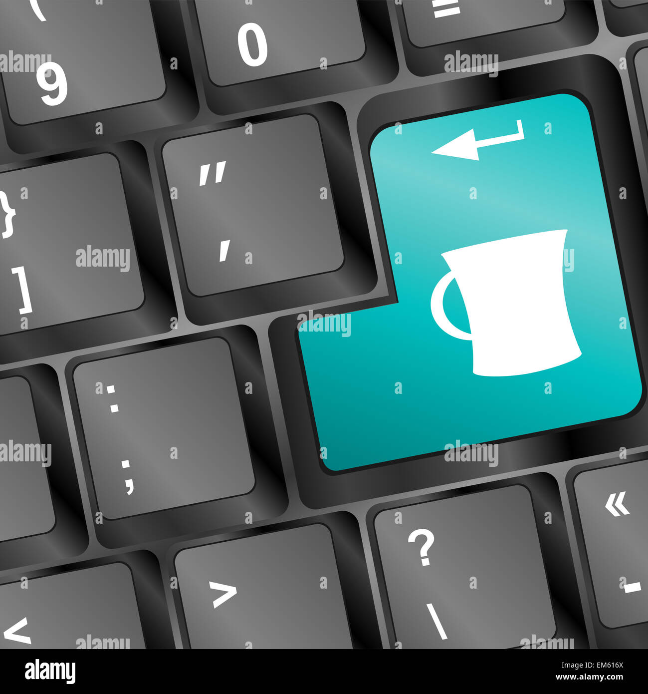 Keyboard with Coffee Break button, work concept - Stock Image
