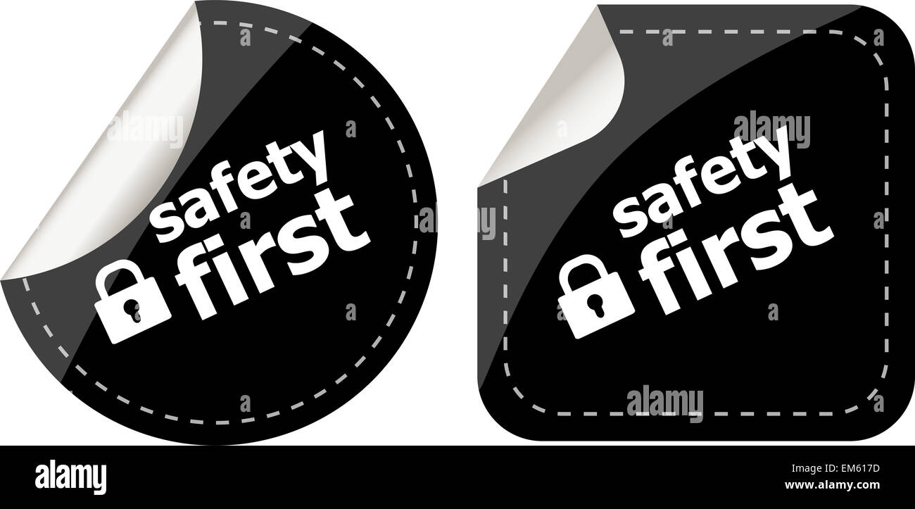 Secure Lock Sign Label, safety first - Stock Image