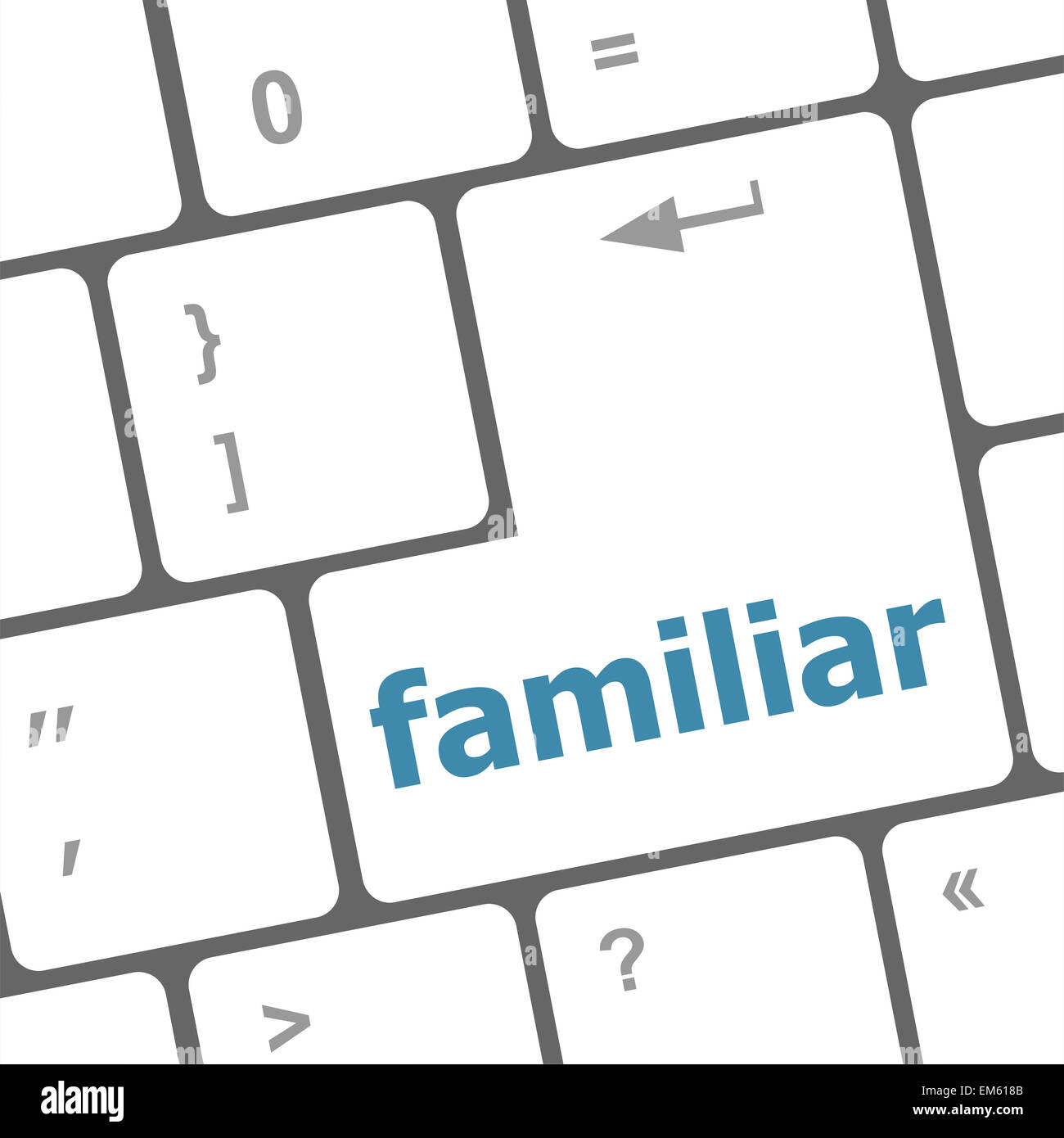 familiar button on computer pc keyboard key - Stock Image