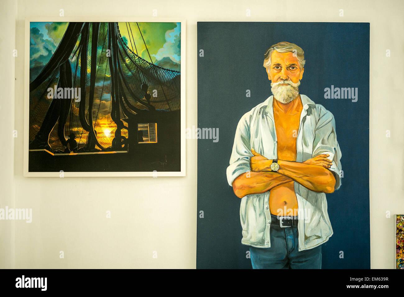 Brazil, Salvador, Pelourinho district, self-portrait in the studio of the painter Justino Marinho - Stock Image