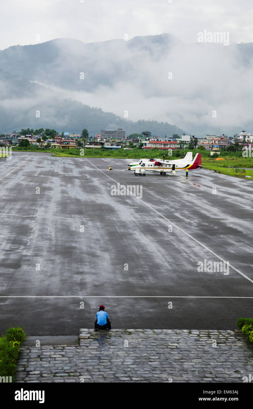 Nepal, View of airplanes at airport; Pokhara - Stock Image