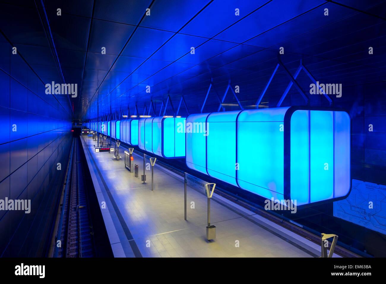 HafenCity Universität station on U4 U-Bahn line - Stock Image